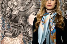 Roza Goneva Foulard arte da indossare Made in Italy - maria laura berlinguer stile italiano - fatto in italia - fashion - art - moda donna